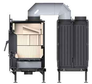 Brunner Kachelofeneinsatz mit Rost für Kohle